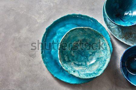 Hagyományos szuvenír kerámia kézzel készített színes tányér Stock fotó © artjazz