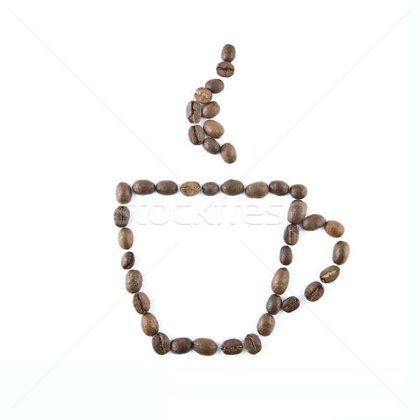 Photo stock: Tasse · de · café · grains · de · café · isolé · blanche · café · coeur