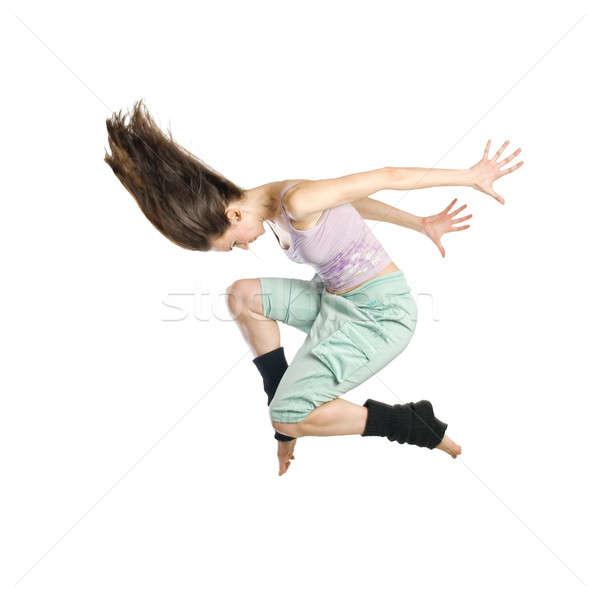 Ugrik fiatal táncos izolált fehér nő Stock fotó © artjazz