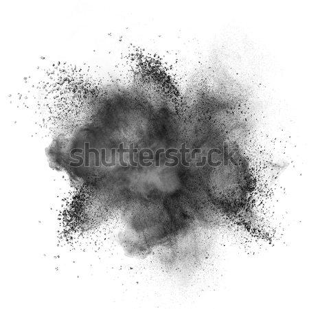 Stock photo: Black powder explosion isolated on white