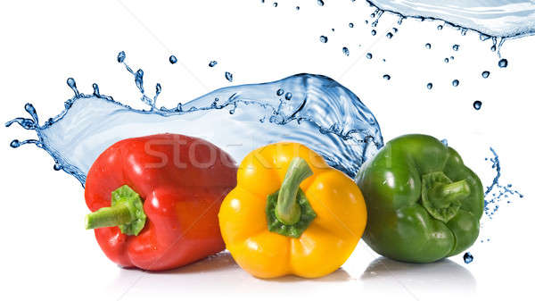 red, yellow, green pepper with water splash Stock photo © artjazz