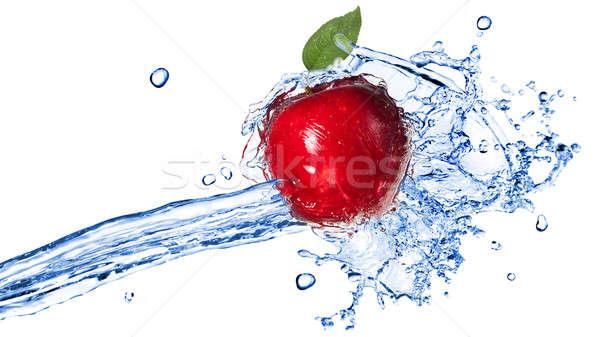 Mela rossa foglia isolato bianco Foto d'archivio © artjazz