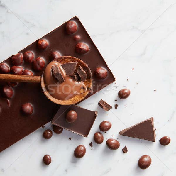 Fakanál csokoládé szelet csokoládé karamell fehér absztrakt Stock fotó © artjazz