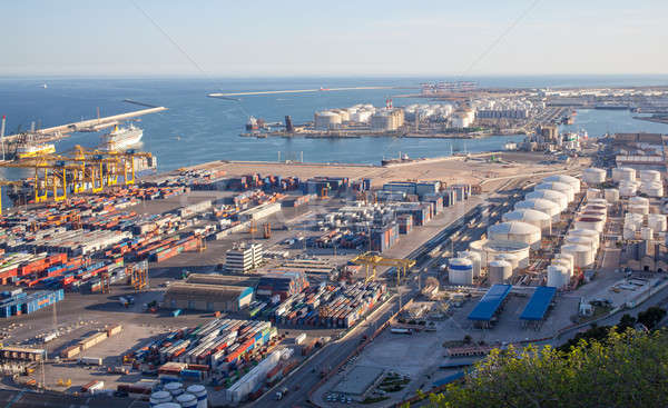 Landscape from bird view of industrial port. Stock photo © artjazz