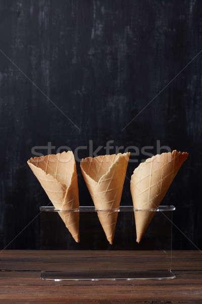 Empty waffle cones Stock photo © artjazz