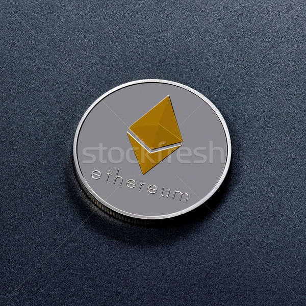 One silver coin is ethereum on a black background. Worldwide Crypto-Currency Stock photo © artjazz