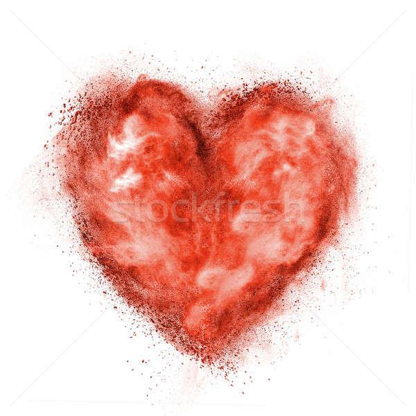 Corazón negro polvo explosión aislado blanco Foto stock © artjazz