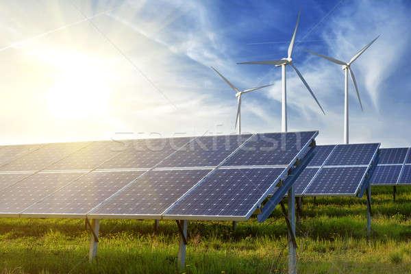 solar panels under sky Stock photo © artjazz