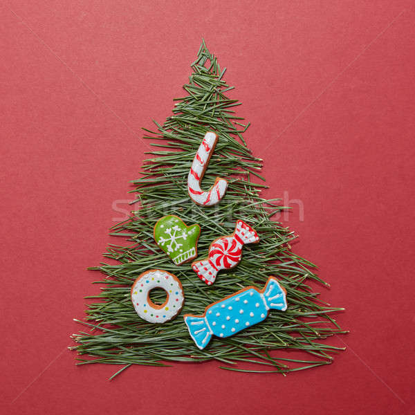 Christmas tree made of pine needles and cookies Stock photo © artjazz