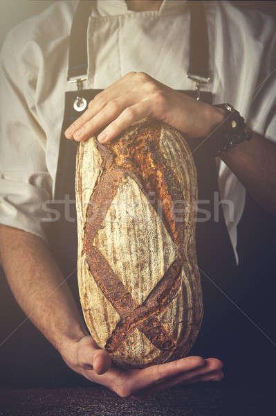 Eller adam oval ekmek siyah Stok fotoğraf © artjazz