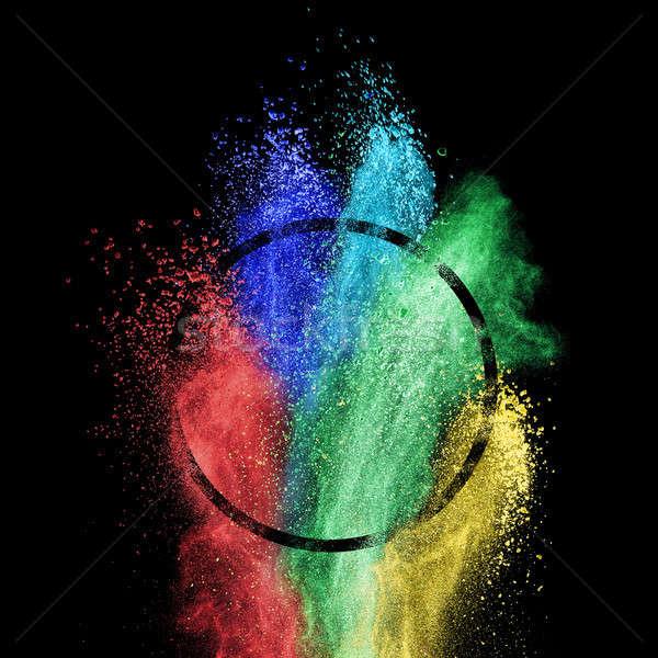 Splash coloré poudre cercle cadre noir Photo stock © artjazz
