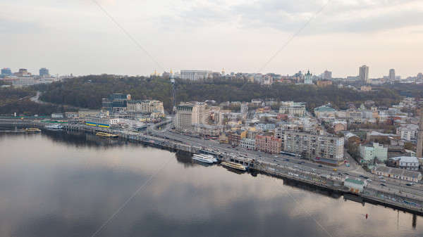 Panoramic view of Kiev historical district Podol with river Dnieper, Kiev, Ukraine Stock photo © artjazz