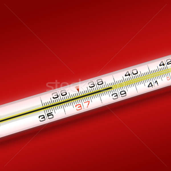 Stock photo: close-up thermometer on red background