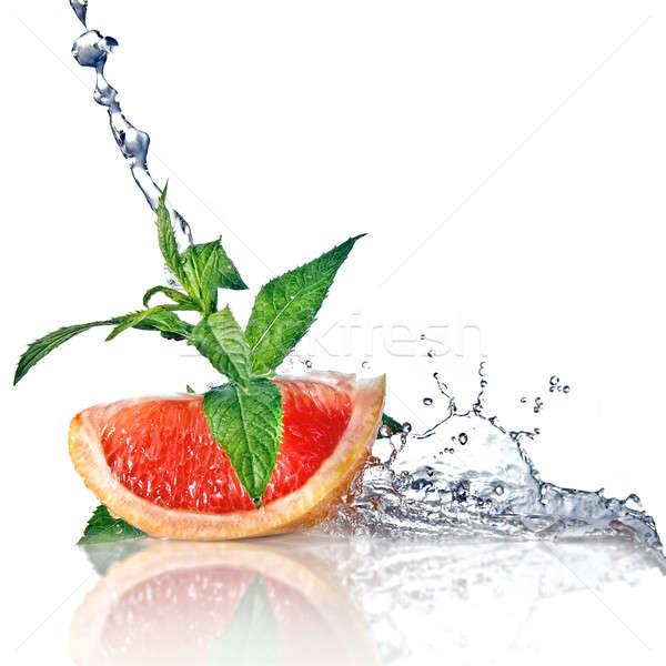Сток-фото: грейпфрут · мята · изолированный · всплеск