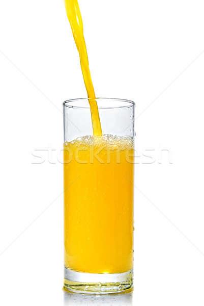 Stok fotoğraf: Portakal · suyu · cam · yalıtılmış · beyaz · yaz · içmek