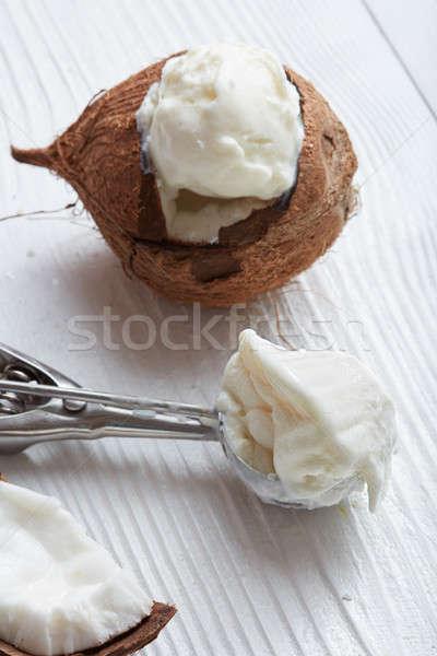 Kokosnoot ijs metaal lepel vers witte Stockfoto © artjazz