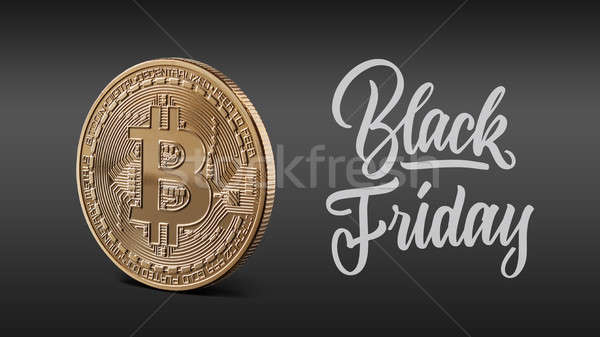 Gouden munt bitcoin opschrift black friday zwarte Stockfoto © artjazz