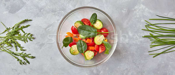 Сток-фото: сырой · овощей · пластина · серый · Sweet