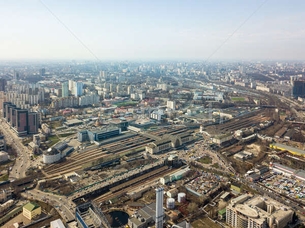 Panoramic view of the city of Kiev with modern high-rise buildings and a railway station Stock photo © artjazz