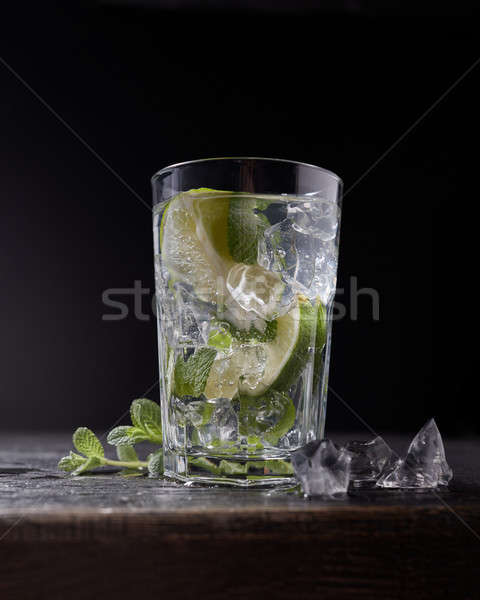 Delicious refreshing lemonade with ice and mint on dark Stock photo © artjazz