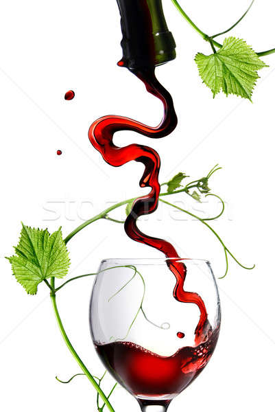 Vin rouge verre tige isolé blanche Photo stock © artjazz