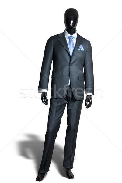business dark grey suite on mannequin isolated on white Stock photo © artjazz