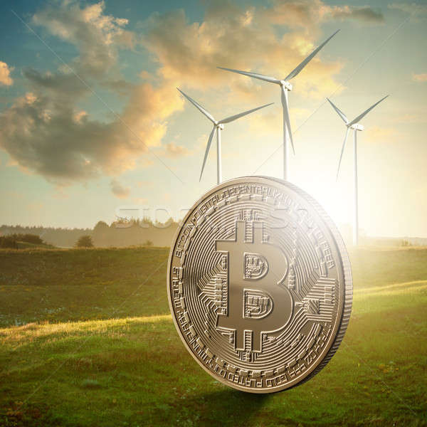 Gold coin bitcoin against the background of a green field Stock photo © artjazz