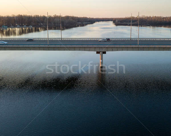 Aerial view of the North bridge with car traffic in Kiev, Ukraine Stock photo © artjazz
