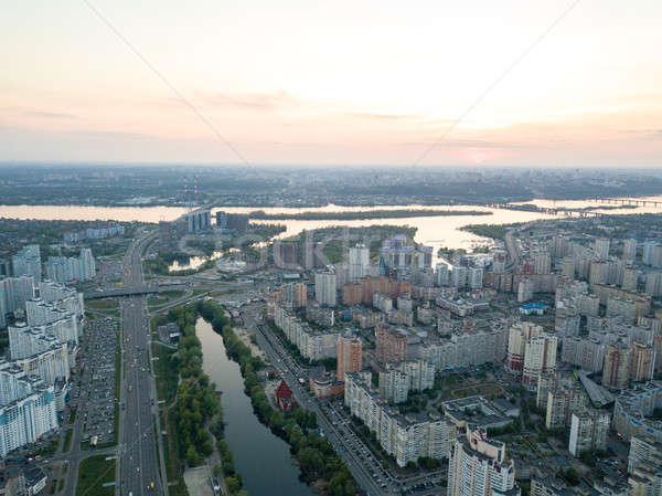 Légifelvétel város folyó naplemente Ukrajna fotó Stock fotó © artjazz