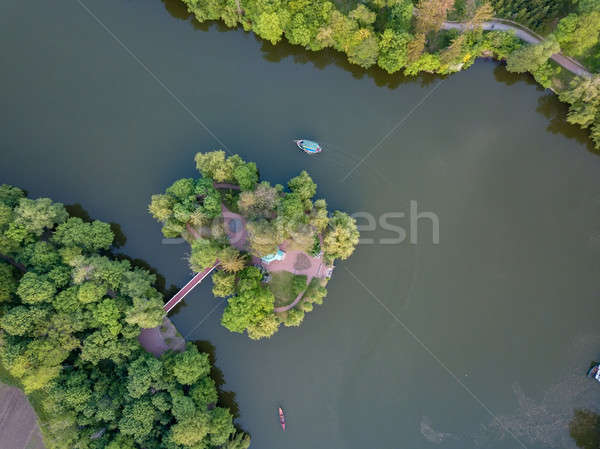 small lake in the middle of a forest and an island with a bridge, top view Stock photo © artjazz