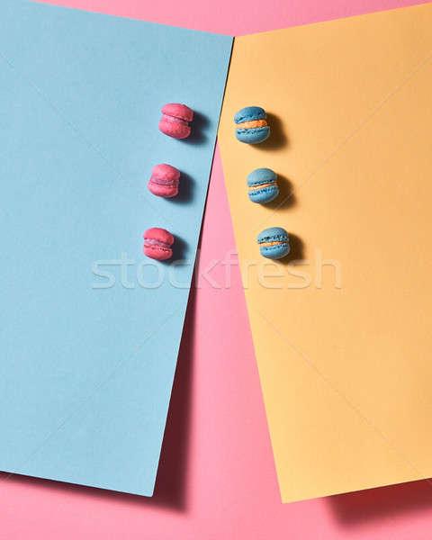 Veelkleurig karton roze Blauw roze achtergrond top Stockfoto © artjazz