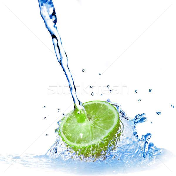 Stock fotó: Vízcseppek · citrom · izolált · vadvízi · cseppek · fehér