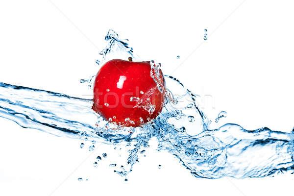 Foto stock: Manzana · roja · aislado · blanco · alimentos · naturaleza