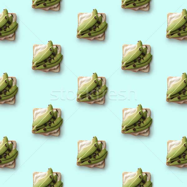 Kanapki awokado niebieski wzór sztuk świeże Zdjęcia stock © artjazz