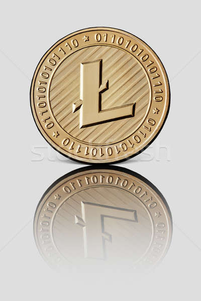 Gold coin litecoin on white glossy background Stock photo © artjazz