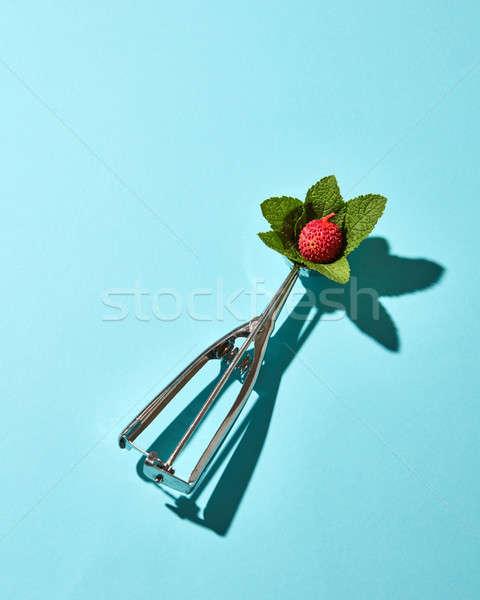 ложку мороженым фрукты мята листьев синий Сток-фото © artjazz