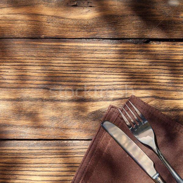 空っぽ ボード フォーク ナイフ 木製のテーブル 先頭 ストックフォト © artjazz