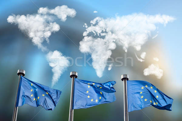Flags of European Union with clouds map Stock photo © artjazz