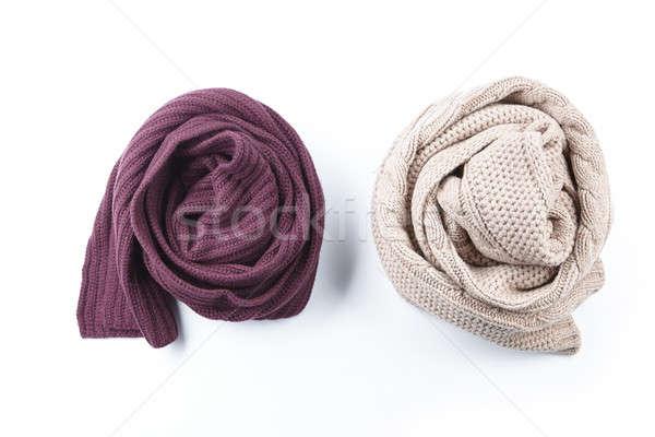 Deux Homme écharpe isolé blanche mode Photo stock © artjazz
