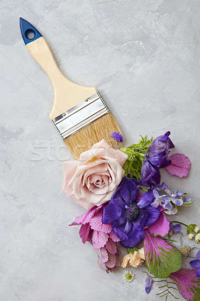 flowers and paint brush Stock photo © artjazz