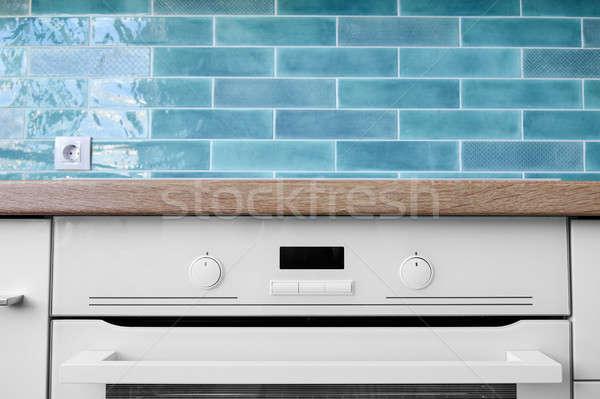 Nieuwe moderne witte oven display bruin Stockfoto © artjazz