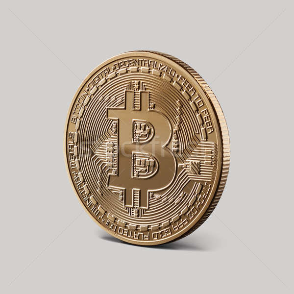 Or bitcoin pièce gris côté Photo stock © artjazz