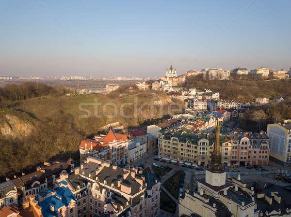 Wijk moderne huizen kaal berg stad Stockfoto © artjazz