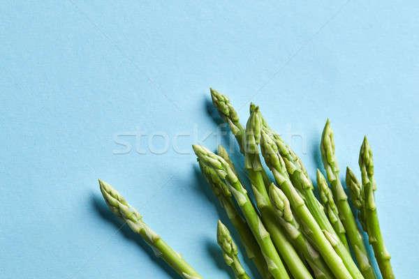 Közelkép friss spárga kék köteg farm Stock fotó © artjazz