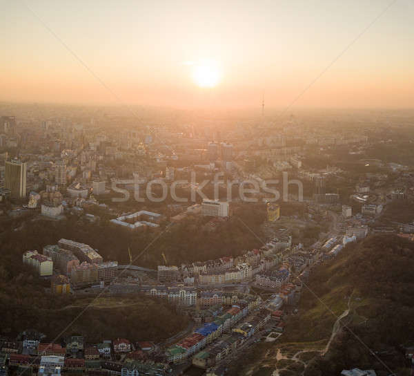 A bird's eye view, aerial view shooting from drone of the Podol district, oldest historical center o Stock photo © artjazz
