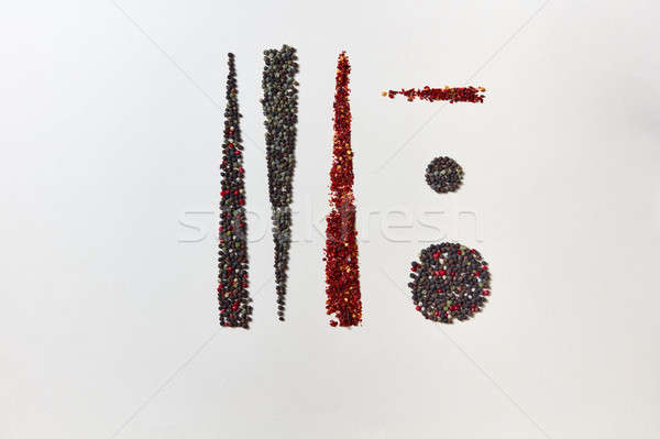 Abstract geometric food pattern of fragrant spices - various kinds of pepper and paprika isolated on Stock photo © artjazz