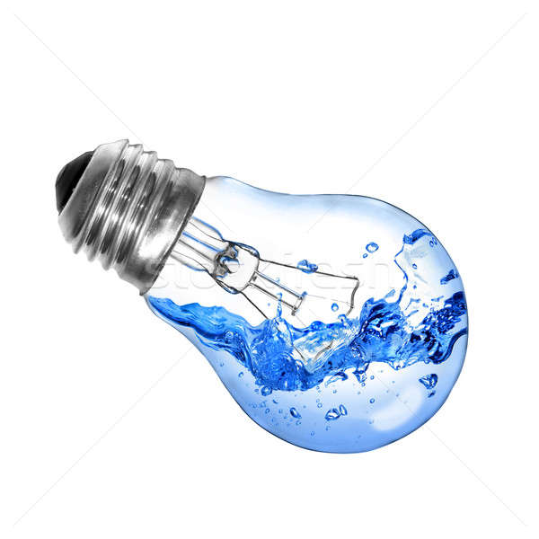 Energy concept. Light bulb with water isolated on white Stock photo © artjazz