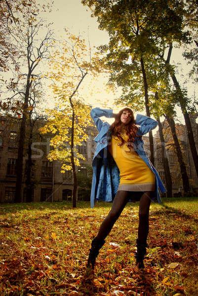 Nő kék pózol ősz park fa Stock fotó © artjazz