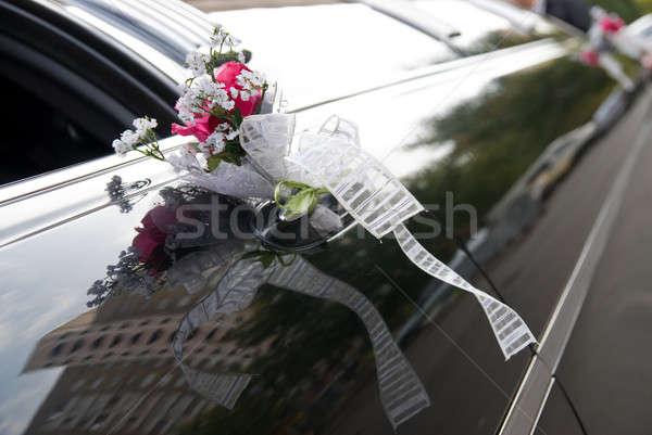Deur zwarte bruiloft auto bloem lint Stockfoto © artjazz