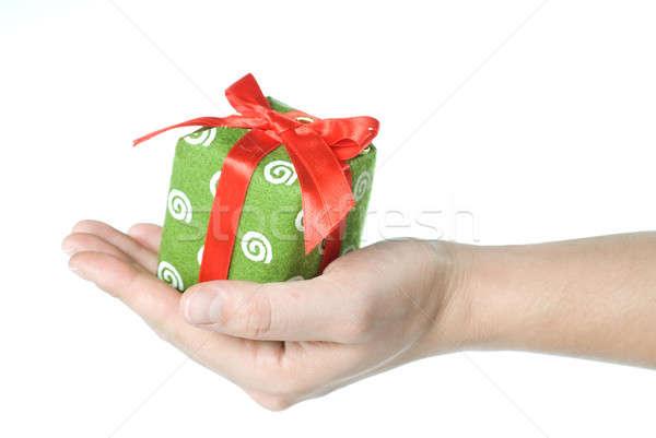 Stok fotoğraf: El · hediye · yalıtılmış · beyaz · kutu